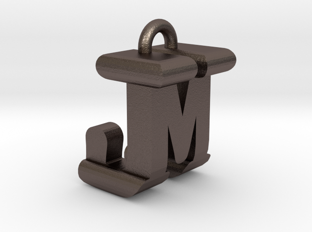 3D-Initial-JM in Polished Bronzed Silver Steel