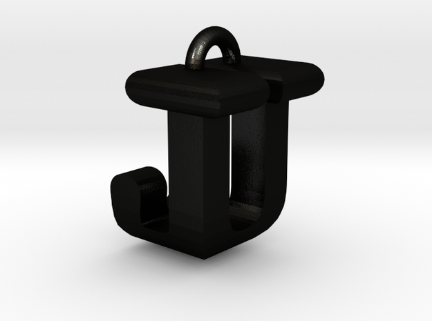 3D-Initial-JU in Matte Black Steel