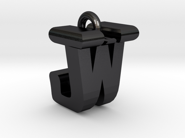 3D-Initial-JW in Polished and Bronzed Black Steel