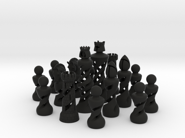 Helix Chess Set (One Color) in Black Natural Versatile Plastic: Medium