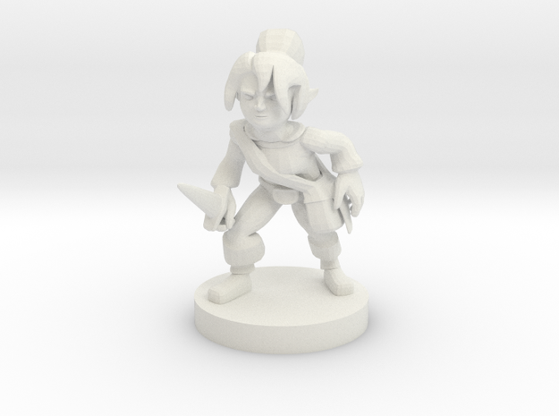 Halfling Female Rogue in White Strong & Flexible