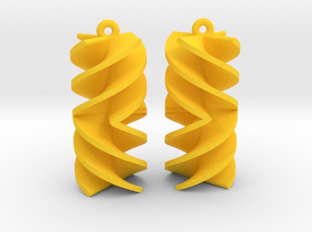 Absolute Rotini Earrings in Yellow Processed Versatile Plastic