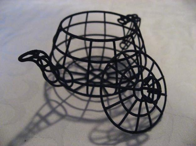Wireframe teapot 3d printed Black wireframe teapot