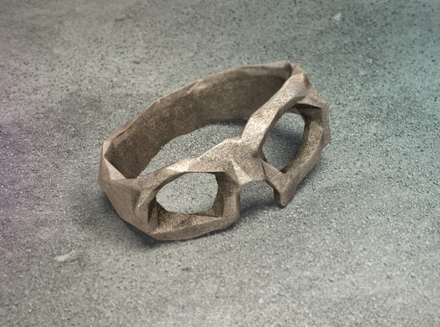 Polygonal skull ring: size 6.5 (US) M.5 (UK) 3d printed