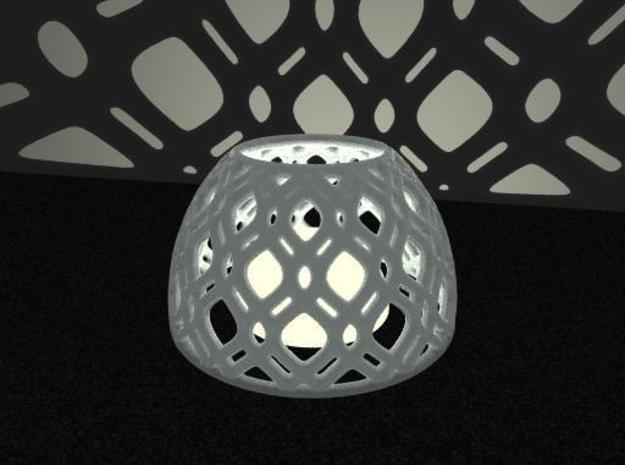 Netted Tea-Light Ring in White Natural Versatile Plastic