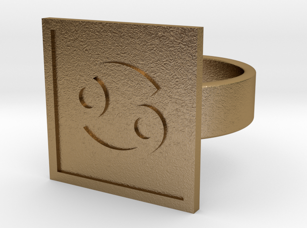 Cancer Ring in Polished Gold Steel: 10 / 61.5