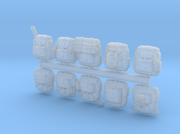 28mm Soldier backpacks (10) in Smoothest Fine Detail Plastic