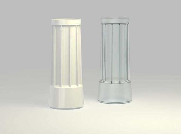 Vase with supportive ribs 3d printed