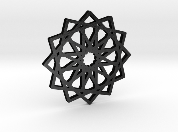 12-fold Islamic Star Pendant (without loop) in Matte Black Steel