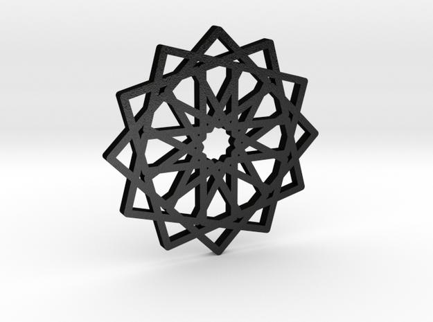 12-fold Islamic Star Pendant (without loop) in Matte Black Steel