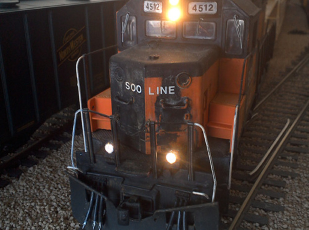O Scale Ditchlights (Set of 4) 3d printed Installed on a Weaver O scale GP38-2 and illuminated with 0603 surface-mount LEDs