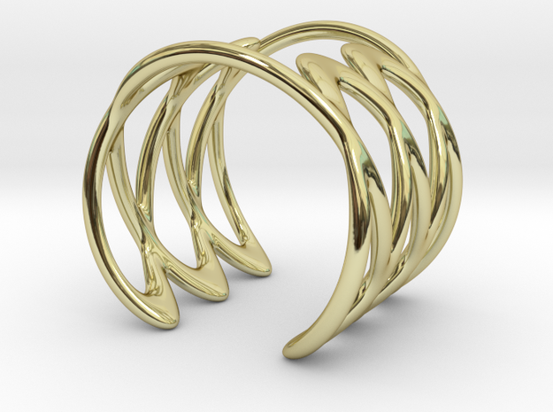 Cuff Bracelet Weave Line B-002 in 18k Gold Plated Brass