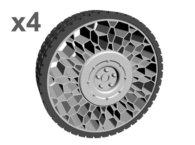 1/25 35inch Tweel airless tire x4 in White Strong & Flexible