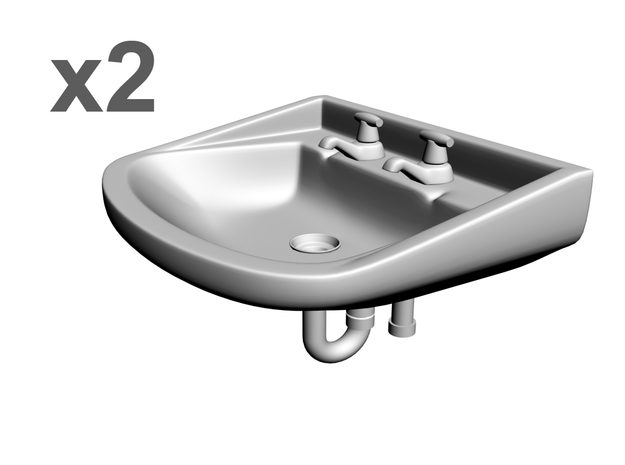 1/25 Sinks x2, with faucets+drainpipe in White Strong & Flexible