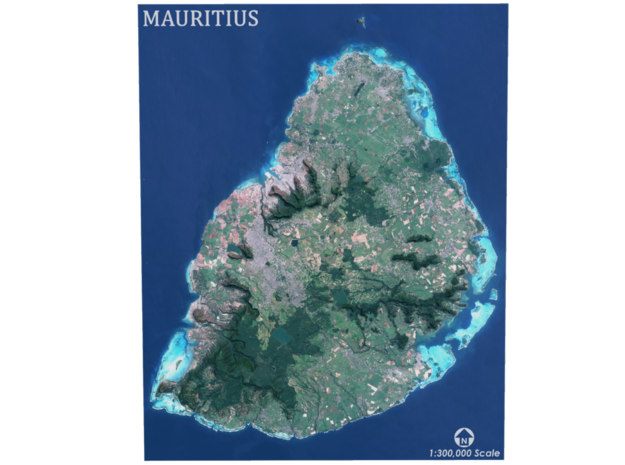 Mauritius Map in Coated Full Color Sandstone