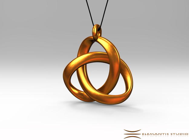 3D Open Triquetra Pendant 4.5cm in Polished Gold Steel
