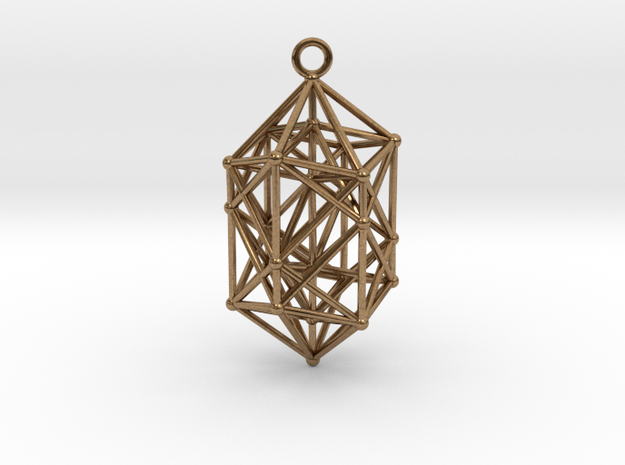 Hyperdiamond Crystal - 4D 24 Cell pendant in Natural Brass