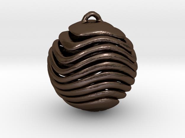 Sliced Sphere Pendant in Polished Bronze Steel