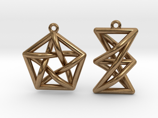 Forbidden Subgraph Earrings in Raw Brass
