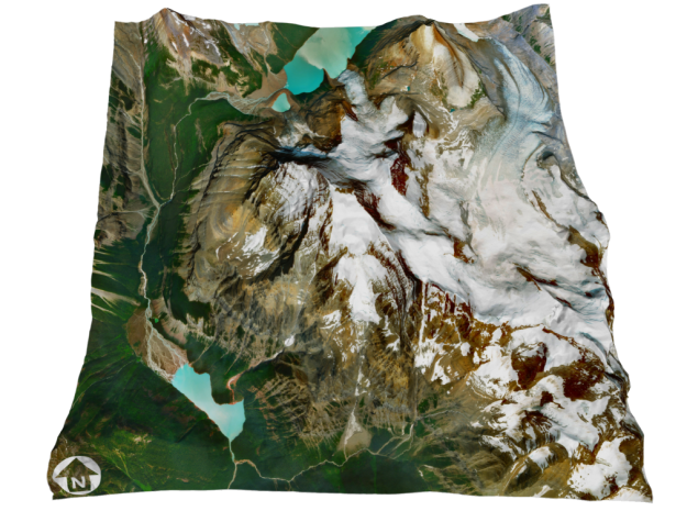 """Mount Robson Map: 8"""" in Glossy Full Color Sandstone"""