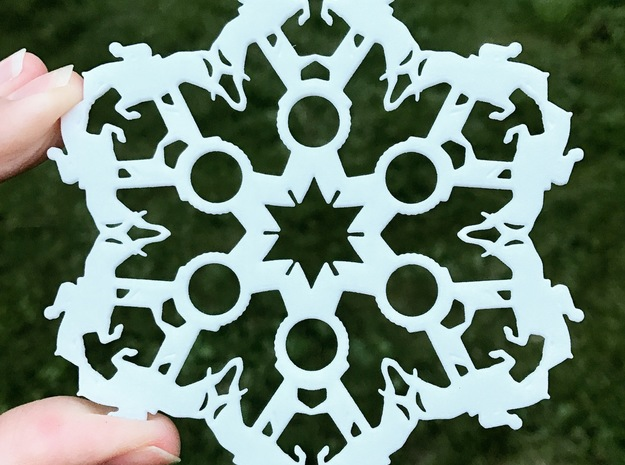 Jumping Horses and Show Ribbons Snowflake Ornament in White Strong & Flexible