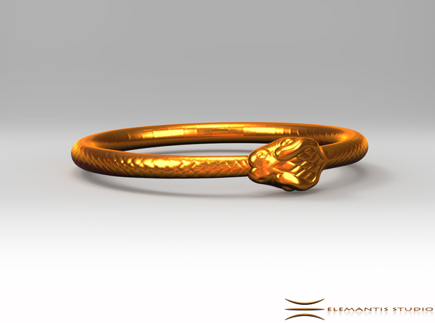Ouroboros Bangle Medium (67mm inside diameter) in Natural Brass