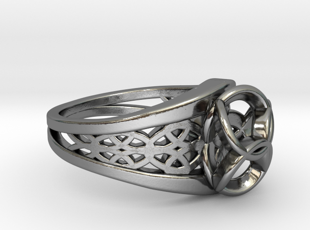 5-3 Enneper Curve Twin Ring in Fine Detail Polished Silver