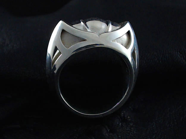 Mountain Lion Ring - Size 9 1/2 (19.35 mm) 3d printed Shown in Polished Silver