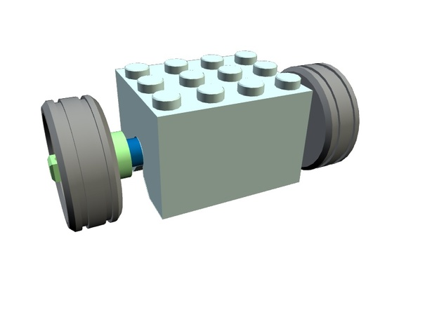 Rubber band motor with wheels / Gummibandmotor 3d printed