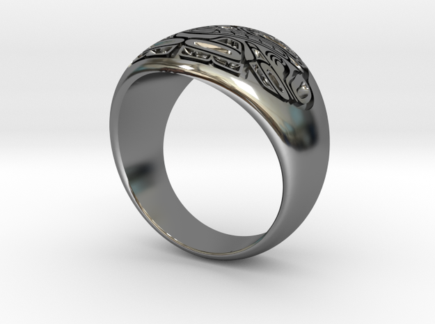 Sea Monster Ring  in Fine Detail Polished Silver: 10 / 61.5