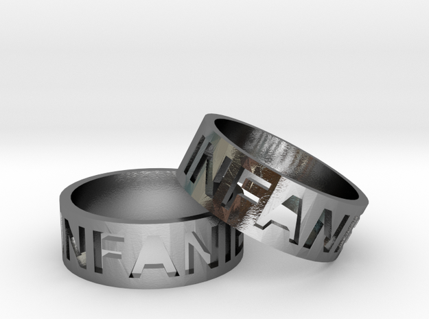 Craved Text Ring Pair in Polished Silver
