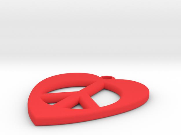 Heart-Peace Earrings in Red Processed Versatile Plastic