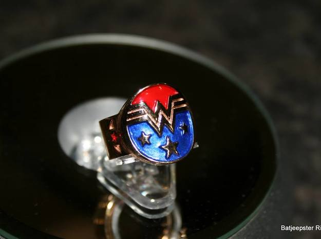 Wonder Woman Inspired Ring 3d printed Contact us if you wish to have color added to the ring for an additional fee
