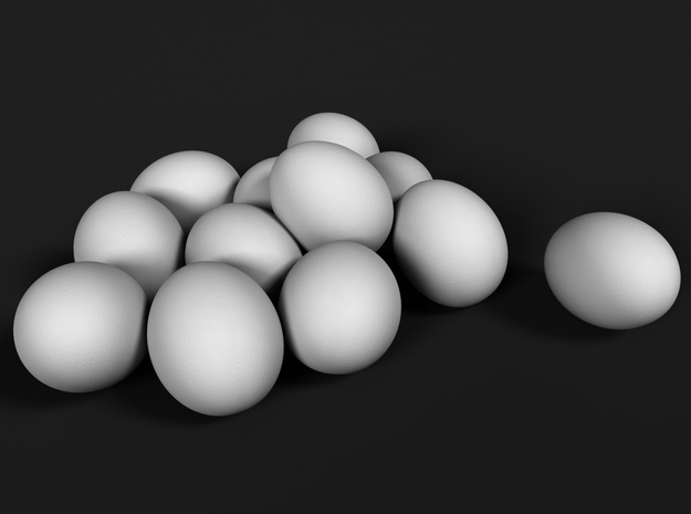 Ostrich Egg 1:25 Set of 12 Eggs in Frosted Ultra Detail