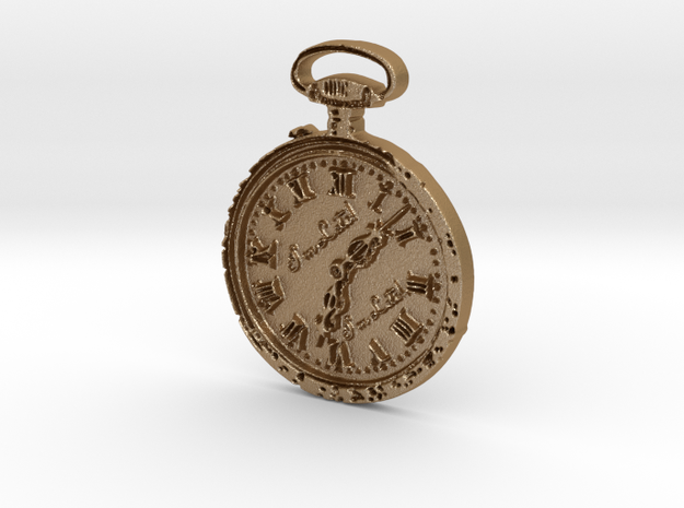"""""""I'm Late"""" Pocketwatch Pendant in Matte Gold Steel"""