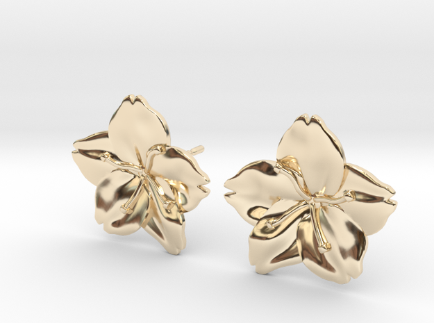 Sakura Stud Earrings in 14k Gold Plated Brass