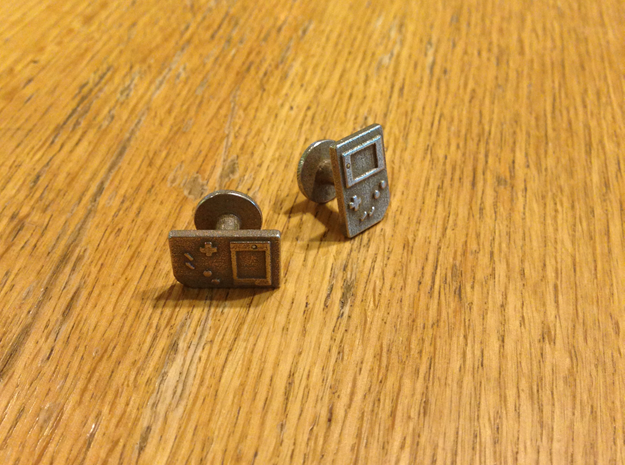 Gameboy Cufflinks in Polished Bronzed Silver Steel