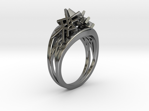 Voronoi Twin Ring (001) in Fine Detail Polished Silver