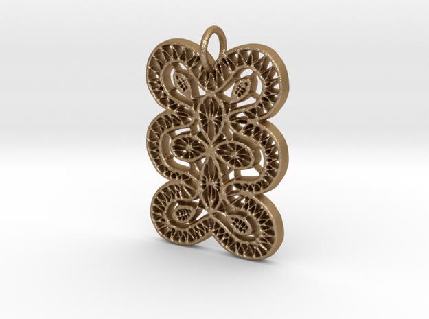 Lace Ornament Pendant Charm in Matte Gold Steel