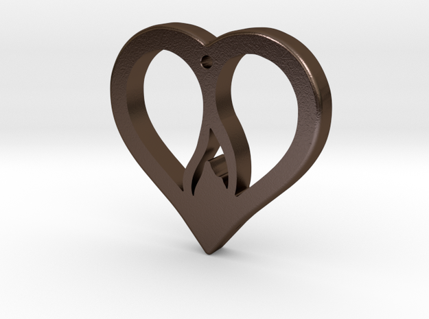 The Flame Heart (steel pendant) in Polished Bronze Steel