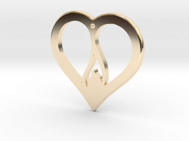 The Flame Heart (precious metal pendant) in 14k Gold Plated Brass