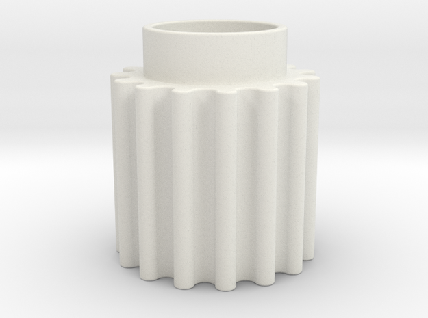 Round Tooth Gear in White Natural Versatile Plastic