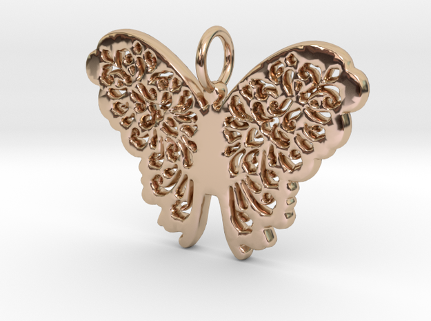 Flourish Lace Butterfly Pendant Charm in 14k Rose Gold Plated