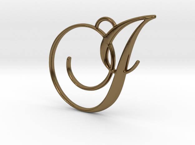 Elegant Script Monogram I Pendant Charm in Polished Bronze