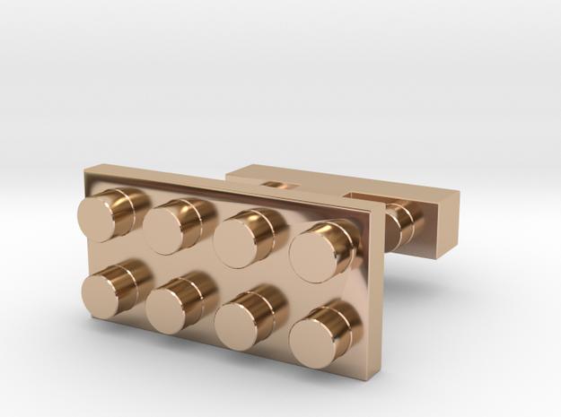 SCULP® Lego Sculpture Classic Cufflinks Rectangle in 14k Rose Gold Plated Brass