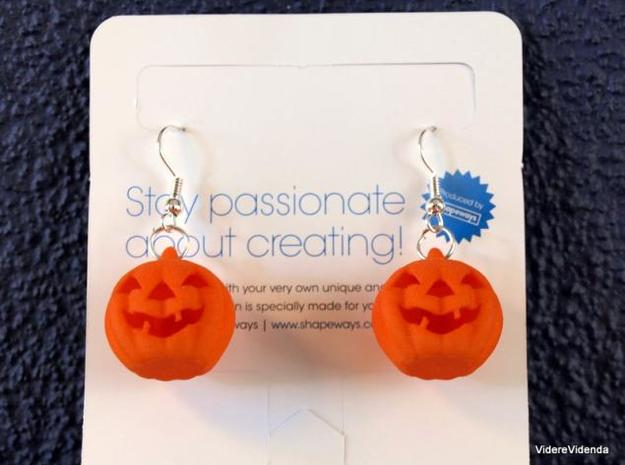 Halloween Pumpkin earrings (set - 2pcs) in Orange Processed Versatile Plastic