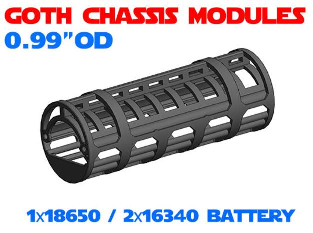GCM099 - 18650 Battery chassis  in White Natural Versatile Plastic