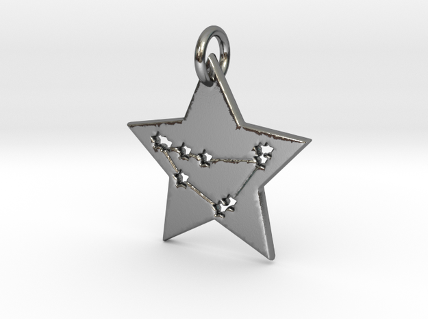 Capricorn Constellation Pendant in Polished Silver
