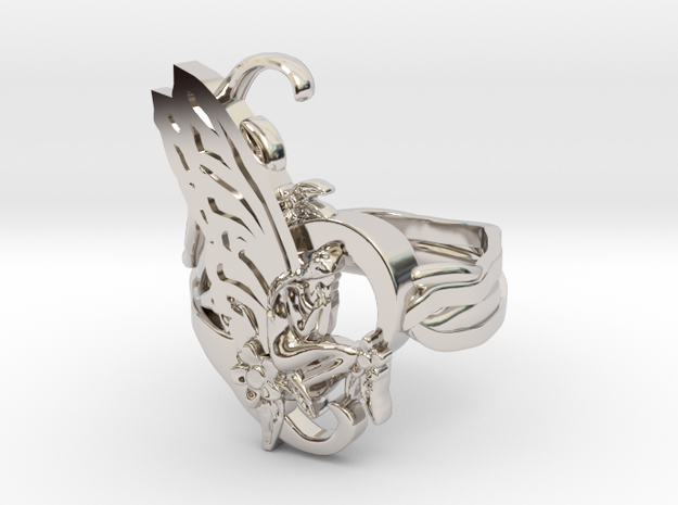 Oddworks ring art nouveau size 11 us in Rhodium Plated: 11 / 64