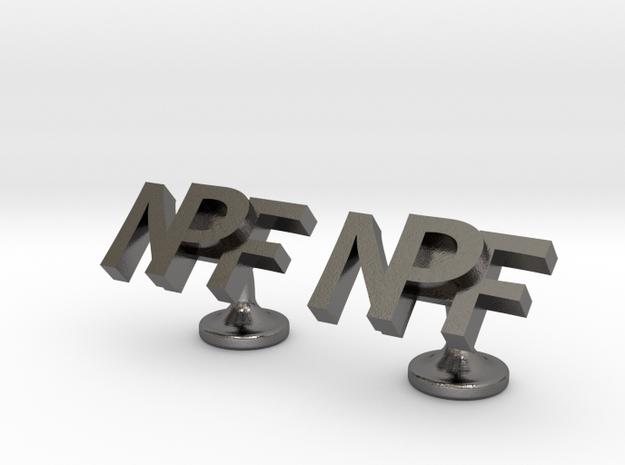 Personalised cufflinks NPF in Polished Nickel Steel